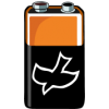 Battery with dove symbol on it