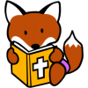 This is a graphic of a little fox reading a Bible.