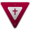 Yield sign with cross in  the center