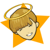 This is an image of a boy with a halo. It has a star background. Good for the classroom!
