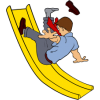 Man going down a slide backwards