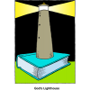 "This is a drawing of a LIghthouse sitting on top of a bible. Below are the words, ""God's Lighthouse."" Truly, the Word of God leads people in dark waters back to land and safety."