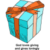 This is a cartoon style image of a nicely wrapped gift. We usually expect presents to be something we like, and thats exactly what God gives.