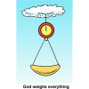 "This is a cartoon image of a scale hanging from a cloud with the words, ""God weighs everything."" God loves a just weight."