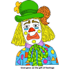 "This is a very colorful image of a clown, done in cartoon style. The words below are, ""God gave us the gift of feelings."""