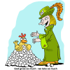 this is a cartoon image of a fancy woman standing by a chicken with a pile of eggs. The point is the generosity of God.