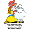 "This is an image of Mary and her lamb with the changed song as, ""Jesus is the Lamb of God, Lamb of God, Lamb of God, Jesus is the Lamb of God who took our sins away."""