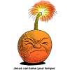 "This is an image of a bomb with a lit fuse. Below it are these words, ""Jesus can tame your temper."""