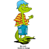 "This is a comic drawing of a beachy looking alligator, smiling. Below are the words, ""Be cool - God's in charge."""