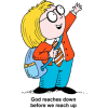 This is a cartoon image of a schoolboy reaching upward. The truth is, God reaches down before we reach up.