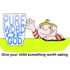 Clip art of child reaching for a glass with the words Pure Word of God