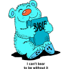 A Clip art of a happy blue bear hugging a Bible.