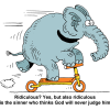 Elephant on scooter - silly as thinking sin will not be judged