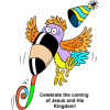 Silly toucan with party hat blowing a noise maker