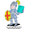 Knight in armor holding up shield and Bible