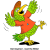 Happy Parrot with wings spread wide - Get Inspired - Read the Bible