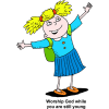 This is a comic style image of a schoolgirl raising her hands and praising God with the words below: Worship God while you are still young.