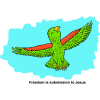 Happy Parrot Flying - Freedom is submission to Jesus