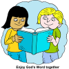 "This is an illustration of two kids holding a blue bible and reading it together. Under the illustration are the words, ""Enjoy God's Word together."" It is a drawn illustration in comic style."