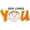 "This is a drawing of the saying God Loves You with a face in the ""o"" on the word ""you."""