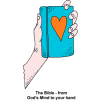 A hand holding up a blue Bible with a red heart on it. Below are the words: From God's mind to your hand