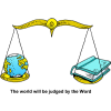 Christian Clip Art of Scales holding the World one side and the Bible on the other.