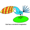 This is a clip art drawing of a very colorful bird. God has a wonderful imagination.