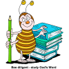 Bee holding pencil with two hand. Two other hands are resting on a stack of books