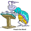 Bug at a a pulpit reading pages of a Bible