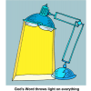 "This is an image is a desk lamp with a bible as the light source. Below are the words, ""God's Word throws light on everything."" This illustration communicates quickly how God's Word bring the light."