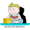 "A cartoon style image of a baby sitting with a Christian book with the words, ""Start them in the right direction."" The bible is the best start for all children."