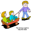 Dad Pulling Two Kids in a Wagon