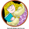 This a drawing of a young girl holding her bible while she sleeps.
