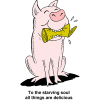 Happy Pig Biting a Can | To the staving soul all things are delicious