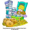 King Solomon with a Pile of Money and a Stack of Books | Solomon Clip Art