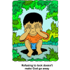 This is a drawing of a boy sitting on the ground covering his eyes. His Refusal to look doesn't make God go away.