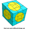 This is a drawing of a blue cube, like a Rubix Cube, with smiley faces on each side. It's purpose is to communicate that God can work difficult things out.