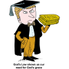 "This is a clip art of an angry scholar holding the Ten Commandments in his hand. The style is a comical drawing. Below are the words, ""God's Law shows us our need for God's grace."""