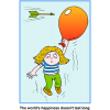 Girl holding on to a balloon flying. An arrow is about to hit the balloon