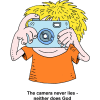 This is a cartoon style image of a guy taking a picture with a camera.