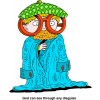 This is a playful cartoon style image of a little boy in big clothes, hat and glasses as a disguise.