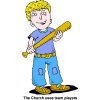 Boy with Baseball Bat - The church uses team players