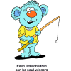 Little Blue Bear with Fishing Pole - Even little children can be soul-winners