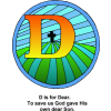"This is an image of the letter ""D"" with the cross inside the ""D"" and below are the words, ""D is for Dear. For God's own dear Son. This letter D is on in the series of the alphabet."" it is a part of the Bible Alphabet series."