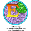 "This is a decorated letter ""E."" The artwork depicts the sun and has the words, ""E is for Energy. All energy comes from God, who created all things."" It's part of the Bible Alphabet series."