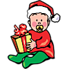 This is a clipart image of a baby with a pacifier dressed in red and green with a present and a santa hat. Christmas is a special time of year for Christians and babies make it all then more special.