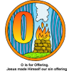 "This is a drawing of the letter ""O"" with the words, ""O is for Offering. Jesus made Himself our sin offering."" Next to the O is an altar. This is in the Bible Alphabet series."