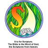 "This is a colorful drawing of the letter ""S"" with the words, ""S is for Scripture. The Bible is the Word of God, the Scriptures from heaven."" It shows Light coming down to the Bible. Bible Alphabet series."