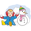 A clip art of a baby playing in the snow next to a snowman.