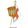 Christian Cross Flag and Drum Image